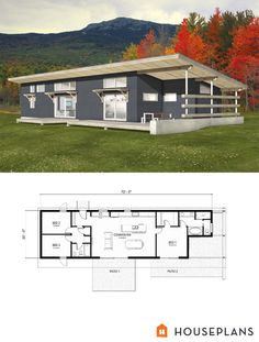 Plan 497-57 - Houseplans.com. Simple efficient design for those more concerned with efficient and durable construction and layout rather than fancy foyers and extra powder rooms. Love this plan! I would add an office loft over the 2 bedrooms. Also a garage in from of the 2 bedrooms so that the garage and front entry  enter into the same spot.