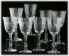 fostoria navarre water goblets crystal set 8 elegant glass vintage 1930s httpwww - Water Goblets