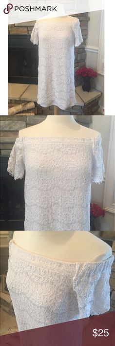 """White Lace Shirt/Mini Dress Beautiful white lace off the shoulder shirt or mini dress. No flaws, new condition. Measurements are- length 27"""" and 14"""" armpit to armpit Tops Blouses"""