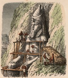 Carving a statue of the Abu Simbel Temple Coloured engraving by Heinrich Leutemann Bilder aus dem Altertume 1866