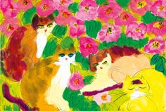 Cats in the flower garden | by Walasse Ting,