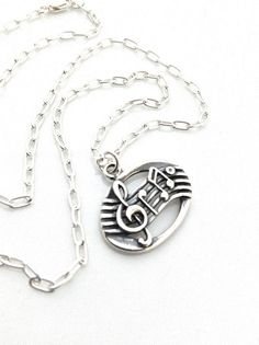 Music Necklace, Treble Clef, Eighth Note, Sterling Silver Pendant, Music Lover Gift