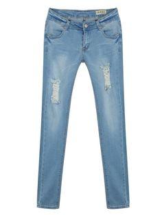 Mid Waist Slim Vintage Denim Jean For Women - Gchoic.com