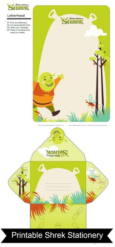Free Printable Shrek Stationery Set