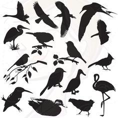 Birds Silhouette Digital Bird Clip Art Clipart Decorative Scrapbook Supplies Black Bird Design Elements Commercial and Personal Use 10204 Silhouette Images, Animal Silhouette, Art Clipart, Clip Art, Silhouettes, Image Deco, Flora Und Fauna, Bird Design, Scrapbook Supplies