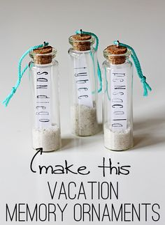 Love these tiny apothecary jars, with sand from our vacations.
