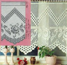World crochet: Curtain 73 Filet Crochet, Crochet Chart, Crochet Motif, Crochet Curtain Pattern, Crochet Curtains, Curtain Patterns, Crochet Boarders, Crochet Stitches Patterns, Crochet Designs
