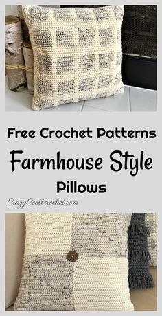 FREE crochet patterns for gorgeous farmhouse style pillows. Fit nicely in any ho FREE crochet patterns for gorgeous farmhouse style pillows. Fit nicely in any ho. Crochet Pillow Cases, Crochet Pillow Patterns Free, Crochet Cushion Cover, Crochet Cushions, Free Crochet, Knit Crochet, Free Pattern, Knit Pillow, Cushion Covers