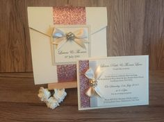Beautiful Holly glitter wrap in Ivory and dusky pink glitter with a diamanté embellishment for pocketfold, for postcard Postcard Wedding Invitation, Wedding Invitations, Laura Thomas, Invitation Examples, Ribbon Colors, Pink Glitter, Wedding Planner, Color Schemes, Embellishments
