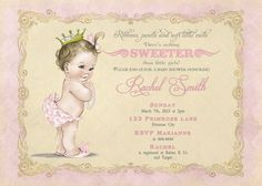 Girl Baby Shower Invitation and FREE Thank Card by CuddleBugInvitations
