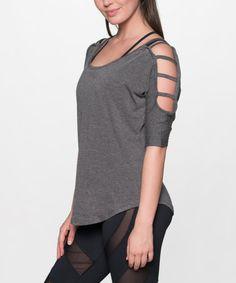 Dark Gray Cutout-Shoulder Top #zulily #zulilyfinds