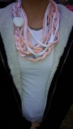 T-shirt Yarn necklace. Toetsie's Trinkets facebook Jeandre Fullard Yarn Necklace, Fabric Necklace, Scarf Jewelry, Fabric Jewelry, Jewellery, Tee Shirt Crafts, T Shirt Yarn, Making Scarves, Crochet T Shirts