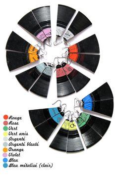 Boucles d'oreille VINYL Disque Vinyl Vintage 45trs