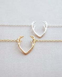Antler Necklace in silver or gold by Olive Yew.