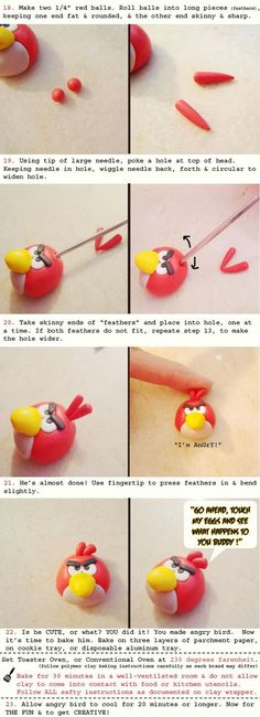 Angry Bird polymer clay tutorial