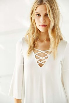 Ecote Bonita Plunging Tunic Top - Urban Outfitters