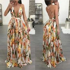 guest outfit PansyGal V Neck Printed Chiffon Floor length Event Dresses, Casual Dresses, Fashion Dresses, Prom Dresses, Summer Dresses, Wedding Dresses, Backless Maxi Dresses, Floor Length Dresses, Print Chiffon