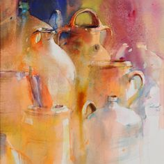 marie-line montecot aquarelle - Bing images Abstract Watercolor, Watercolor And Ink, Watercolour Painting, Abstract Art, Watercolors, Orange Art, Still Life Art, Painting Inspiration, Art Pictures