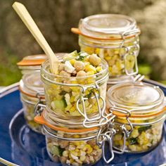 Gourmet Picnic Recipes - Picnic Food - Delish.ca  just love the idea of the salads in the jars!
