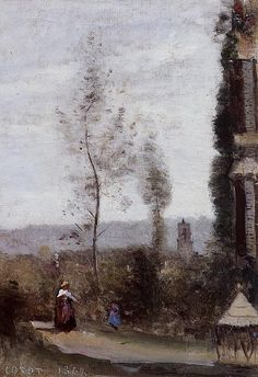 Coulommiers, The Garden of M. Preschez - Camille Corot, 1868 / WikiArt.org - the encyclopedia of painting