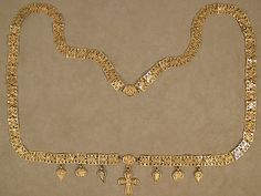 Byzantine Gold Necklace with Cross Date: 6th century Culture: Byzantine Metropolitan Museum