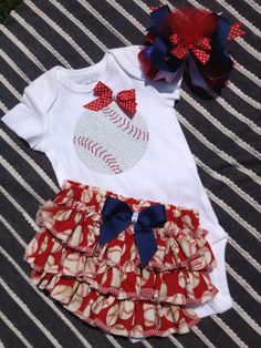 Baby girl baseball onesie/matching ruffled by darlingdivacreations, $28.50 so cuteeee!!