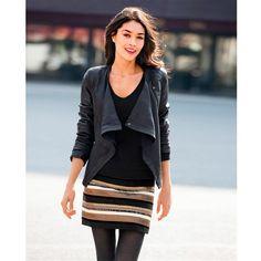 GOT IT! Short Straight Sequined Striped Skirt. http://www.laredoute.es/falda-corta-y-recta-a-rayas-con-lentejuelas/prod-324429460-294313.aspx