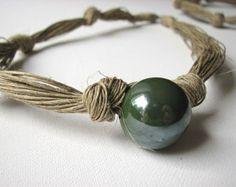 Big Brown lino collana di perle di GreyHeartOfStone su Etsy