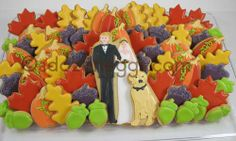 this is from another local wedding. likeness of bride and groom, wedding colors and seasonal cookies