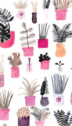 Wallpaper phone backgrounds watercolors art prints ideas for 2019 Watercolor Plants, Watercolor Art, Simple Watercolor, Watercolor Wallpaper, Watercolor Pattern, Phone Backgrounds, Wallpaper Backgrounds, Wallpaper Ideas, Illustration Blume