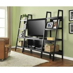 Altra Furniture Lawrence Black Storage Entertainment Center 1727096 – The Home Depot Altra Lawrence 45 in. Ladder TV Stand in Black Living Room Tv, Apartment Living, Home And Living, Tv Stand With Storage, Diy Tv Stand, Metal Tv Stand, Home Furniture, Furniture Design, Wooden Furniture