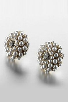 For a more elegant look try these Limited Collection faux pearl diamanté stud earrings.