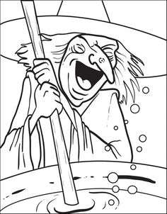free printable halloween coloring page of a witch stirring her brew print it for