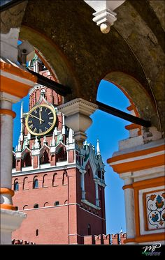 Moscow  Red Square, Spasskaya tower and main Russian Clock (like Big Ben in London)