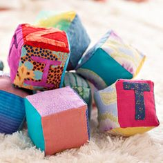 Adorable Baby Blocks - Add a handmade touch of wonder for baby by sewing a dozen or more of these soft, poly-fiber-filled play blocks.