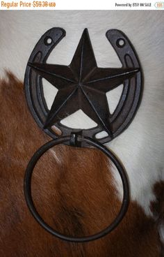 """2 Cast Iron Metal Lucky Horseshoes Western Lone Star Texas Rustic Decor 7/""""x6.25/"""""""