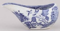 Blue Willow Pap Boat c.1840