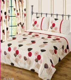 RED WINE CREAM COLOUR BEDDING DUVET COVER SET STYLISH POPPY FLORAL MODERN DESIGN