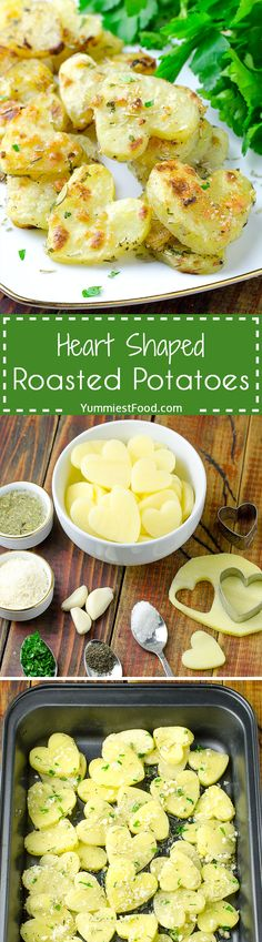 Heart Shaped Roasted Potatoes - A super quick and easy side dish. You can prepare it for few minutes! The whole family loves these yummy Heart Shaped Roasted Potatoes! Seafood Recipes, Diet Recipes, Cooking Recipes, Healthy Recipes, Yummy Recipes, Healthy Food, Easy Mashed Potatoes, Roasted Potatoes, Unique Recipes