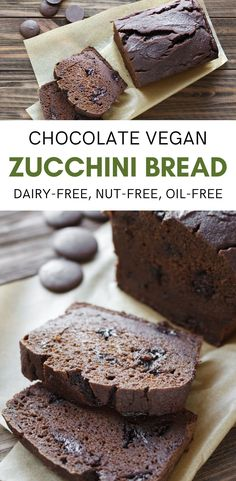 Zucchini bread gets better than chocolate vegan zucchini bread! Easy to make, no need to grate the zukes! Vegan, nut-free, and oil-free. Vegan Baking Recipes, Vegan Dessert Recipes, Delicious Vegan Recipes, Vegan Sweets, Dairy Free Recipes, Healthy Baking, Delicious Desserts, Vegan Meals, Vegetarian Recipes