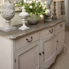 Large Grey Sideboard Dresser Country French Hallway Shabby Vintage Antique Home Sideboard Decor, Dining Room Sideboard, Shabby Chic Sideboard, Rustic Sideboard, Dining Table, French Country Bedrooms, Country French, French Chic, French Style