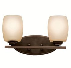 The Kichler Eileen 5097 Vanity Light brings contemporary design right into your bathroom with a sleek form that supports two opal etched glass shades. Bathroom Light Fixtures, Bathroom Vanity Lighting, Light Art, Lamp Light, Bronze, Lighting Manufacturers, Bath Vanities, Light Decorations, Innovation Design
