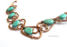 Reserved Turquoise Hammered Copper Bracelet by LunaEssence on Etsy, $38.00
