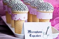 Pink Rockstar birthday party feature by I Will Invitations Microphone cupcakes Music Theme Birthday, Jojo Siwa Birthday, Barbie Birthday Party, Music Themed Parties, Barbie Party, Music Party, 6th Birthday Parties, 7th Birthday, Birthday Ideas