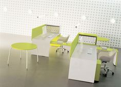 Tre white and green desks