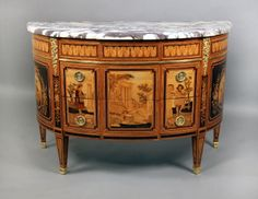 A Beautiful and Unique Late 19th Century Louis XVI Style Gilt Bronze Mounted Inlaid Marquetry Commode By Paul Sormani