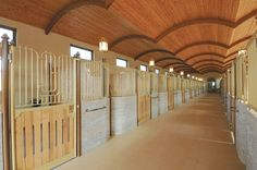 Arched ceiling stable interior
