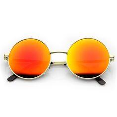 Retro Hippie Large Round Flash Lens Metal Sunglasses - zeroUV