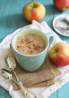 This apple cinnamon tea latte is the perfect warm fall drink to cozy up with.