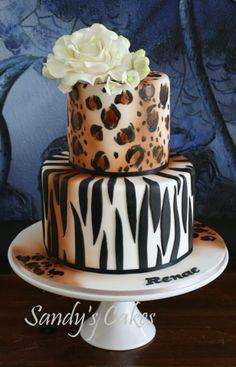 Zebra and leopard print cake
